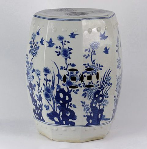 RYLU17-C_Blue & White Floral Bird design Octagon Ceramic Garden Stool