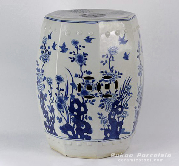 Blue & White Floral Bird design Octagon Ceramic Garden Stool