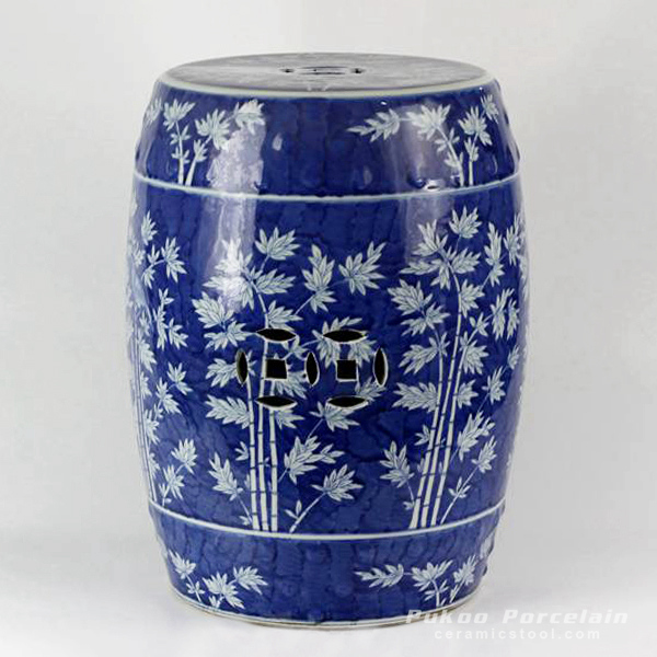 Hand painted Blue and White Bamboo design Ceramic Garden Stool