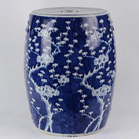RYLU18-C_Ceramic Blue & White Plum blossom Garden Stool