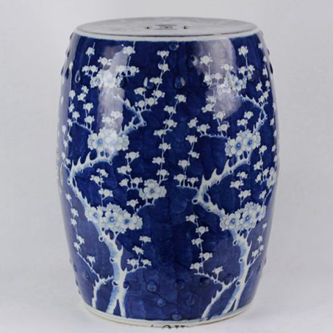 RYLU18-C_Ceramic Blue & White Plum blossom Garden Stool