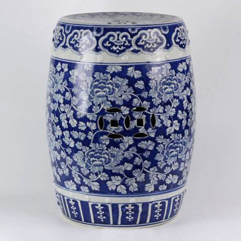 RYLU18-D_Ceramic Blue And White Floral Drum Stool
