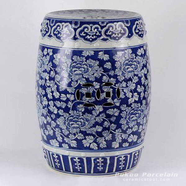 Ceramic Blue And White Floral Drum Stool