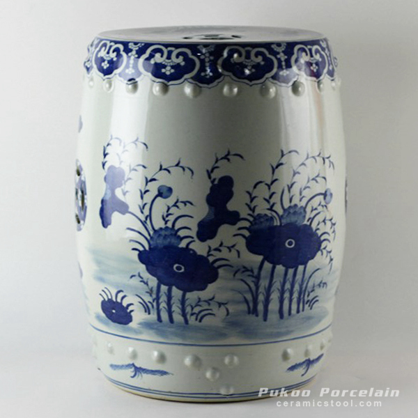Hand painted blue and white chinese ceramics stools floral design