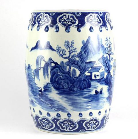 RYLU78_Hand painted blue and white folksy country life pattern porcelain Chinese garden stool
