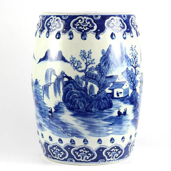 Hand painted blue and white folksy country life pattern porcelain Chinese garden stool