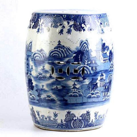 RYLU91-B_South China water town pattern hand made ceramic blue white patio seat