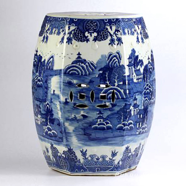 6 sides hand paint landscape pattern blue and white bathroom ceramic stool furniture