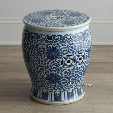 RYLV07_Blue and White painted Floral Ceramic Chinese Stools