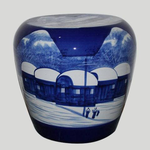 RYLX10_Ceramic Stool, High temperature fired hand painted snow scenery