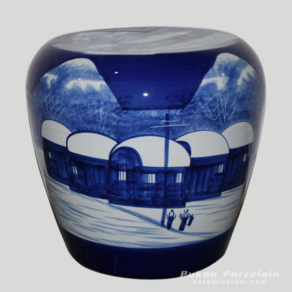Ceramic Stool, High temperature fired hand painted snow scenery