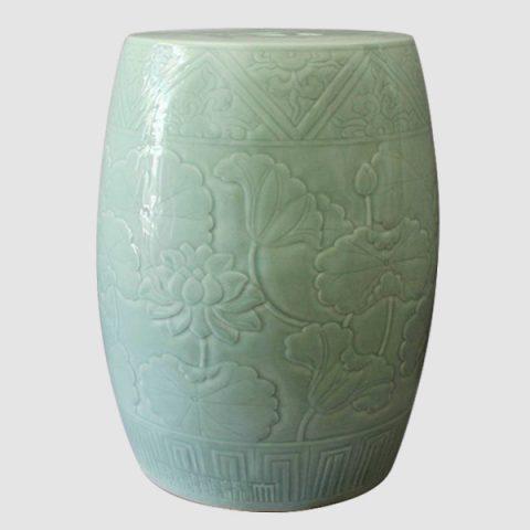 RYMA54_Celadon hand carved lotus garden ceramic stools