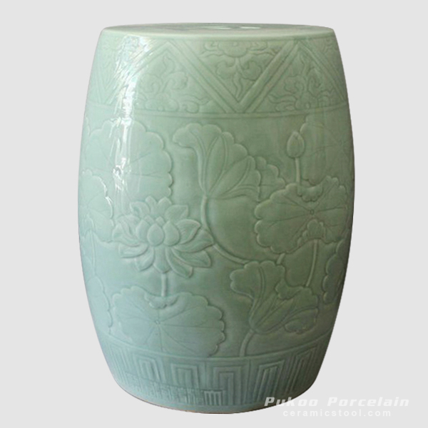 Celadon hand carved lotus garden ceramic stools