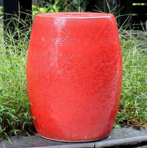 RYMA93-B_Solid color engraved porcelain oriental garden seat scarlet