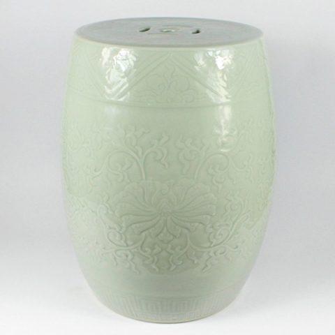 RYMA93-E_Solid color engraved porcelain oriental garden seat pistachio