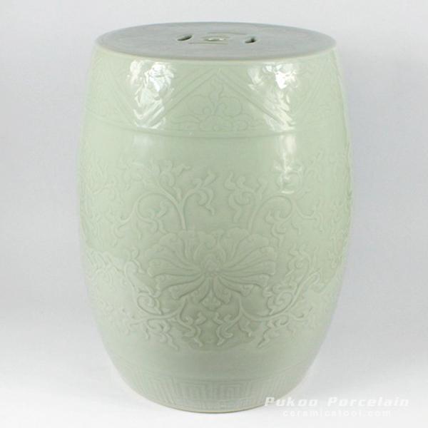 Solid color engraved porcelain oriental garden seat pistachio