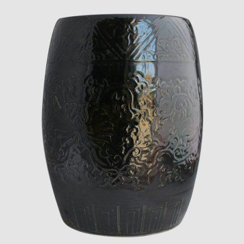 RYMA93_Solid color engraved porcelain oriental garden seat