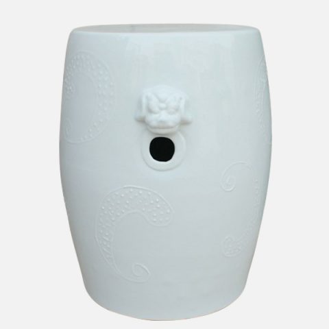 RYNQ02_White lion engraved ceramic seat stool