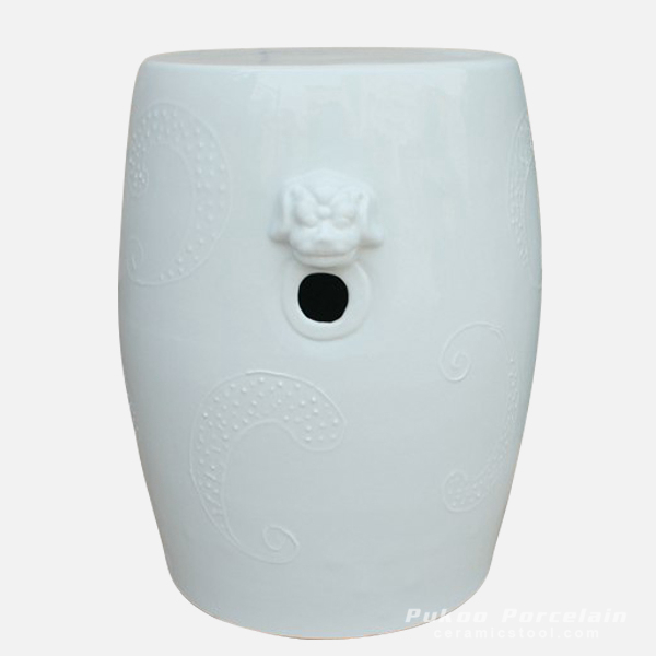 White lion engraved ceramic seat stool
