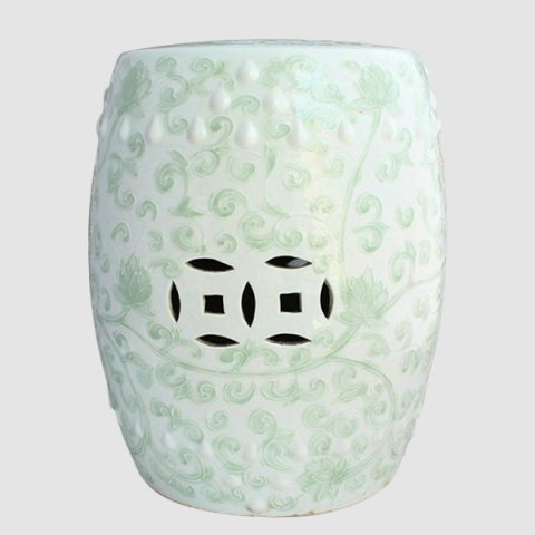RYNQ13_celadon ceramic outdoor garden stool