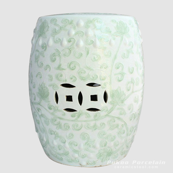 celadon ceramic outdoor garden stool