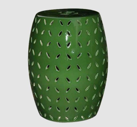 RYNQ151-B_Pierced jungle green solid color modern ceramic counter stool