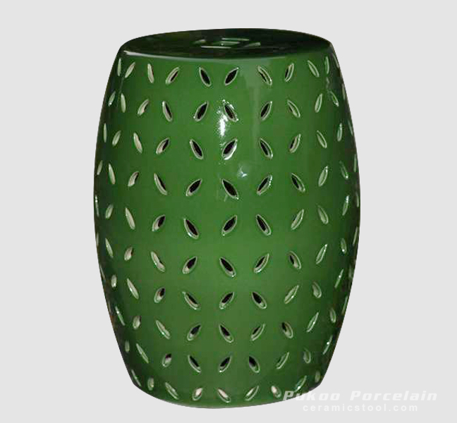 Pierced jungle green solid color modern ceramic counter stool