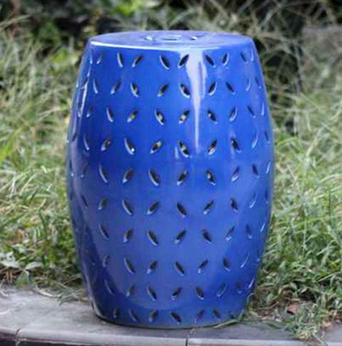 RYNQ151-C_Pierced cobalt solid color modern ceramic counter stool