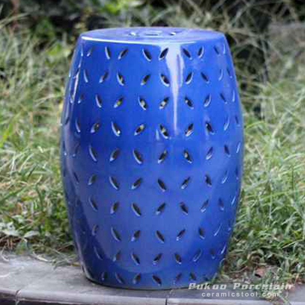 Pierced cobalt solid color modern ceramic counter stool