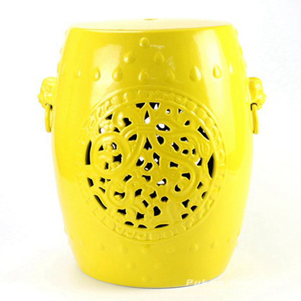Lemon yellow glazed solid color hollow out ceramic stool living room furniture