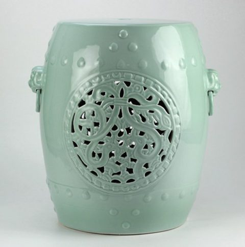 RYNQ177_Mint Green Hand Flower Carved Ceramic Garden Stool