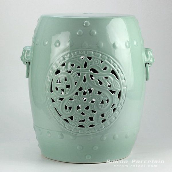 Mint Green Hand Flower Carved Ceramic Garden Stool