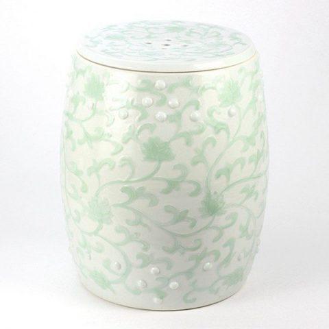 RYNQ183_Pistachio floral mark cermaic stool