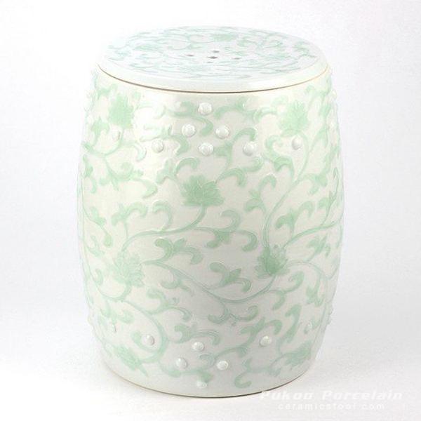 Pistachio floral mark cermaic stool