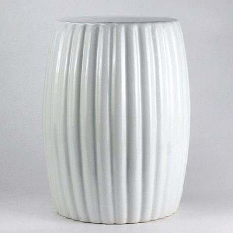 RYNQ185_Matte white stripe pleated ceramic stool