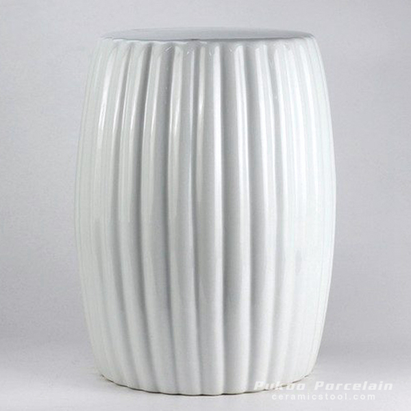 Matte white stripe pleated ceramic stool