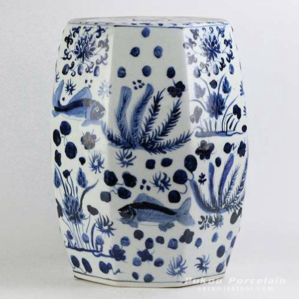 Hexagon shape blue and white hand paint fish and water weed pattern Jingdezhen porcelain bathroom stool