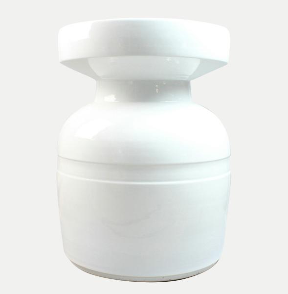 White unique porcelain patio stool