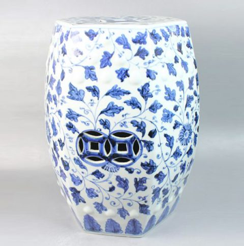 RYNQ47_Ceramic Shower Stool, Blue and White, hand painted floral design,high temperature fired, color strong never fade