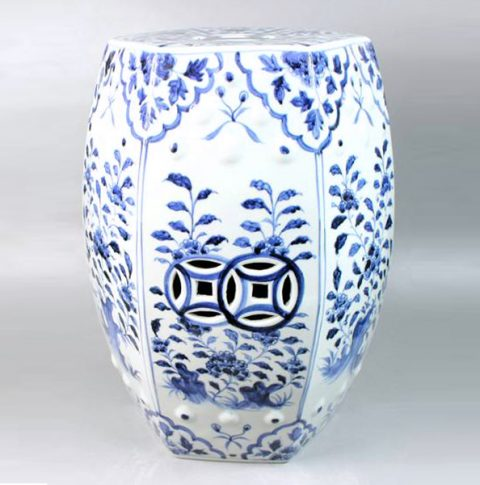 RYNQ48_Ceramic Outdoor Stool, White and Blue, high temperature fired, color strong never fade