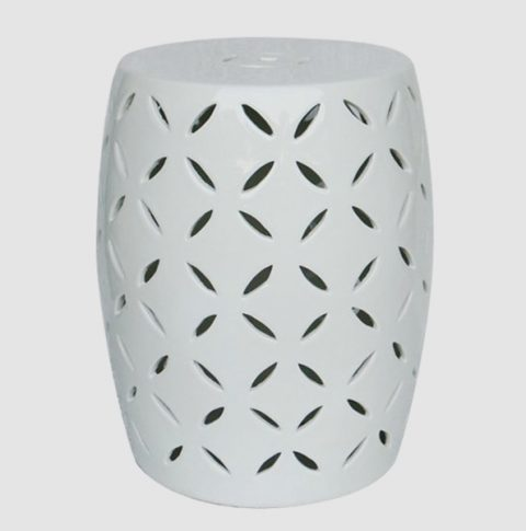RYNQ50_White engraving porcelain balcony rest stool