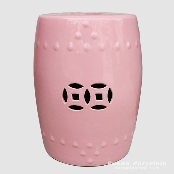Ceramic Child Room Stool, Pink, high temperature fired, color strong never fade
