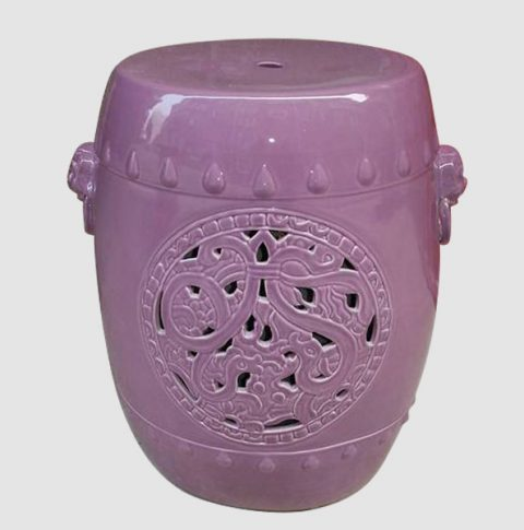 RYNQ53_Ceramic Stool, Purple, hand carved with dog head, high temperature fired, color strong never fade