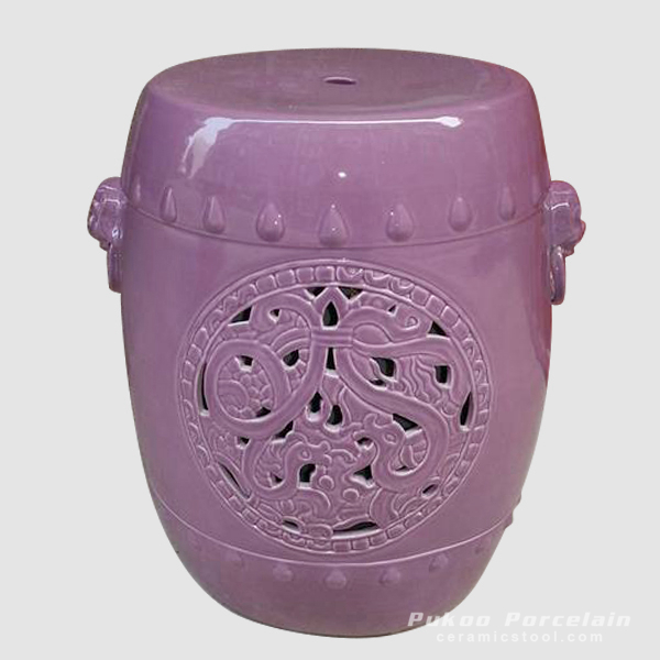 Ceramic Stool, Purple, hand carved with dog head, high temperature fired, color strong never fade