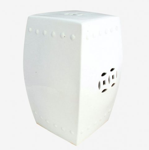 RYNQ56_White Square Ceramic Stool