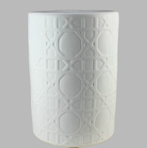 RYNQ58_Carved white Ceramic Stool side table