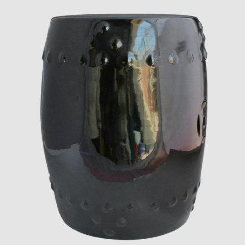 RYNQ64_Black Ceramic Garden Stool