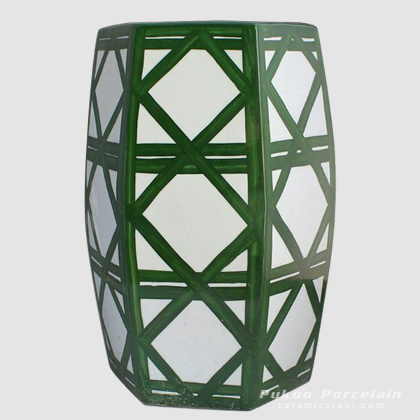 Green hand painted Ceramic Outdoor end table Stool