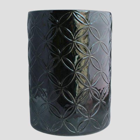 RYNQ68_Black carved Ceramic Chinese Stool
