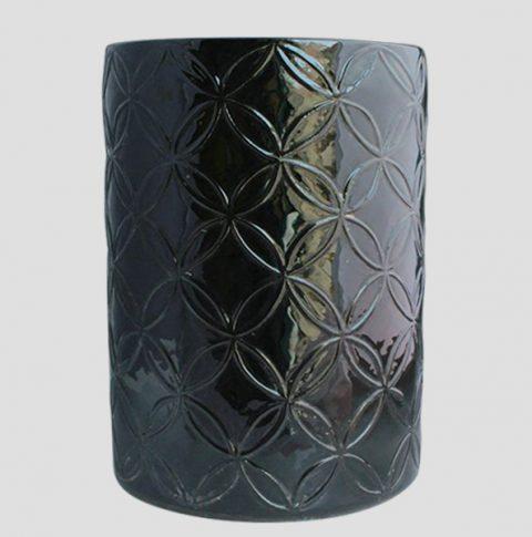 RYNQ68_Black carved Ceramic Chinese Stool
